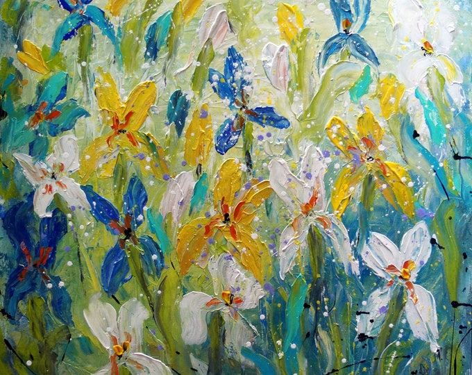 IRIS FLOWERS 36x36 Original Large Painting Abstract White Blue Green Aqua Turquoise Floral Ready to Ship