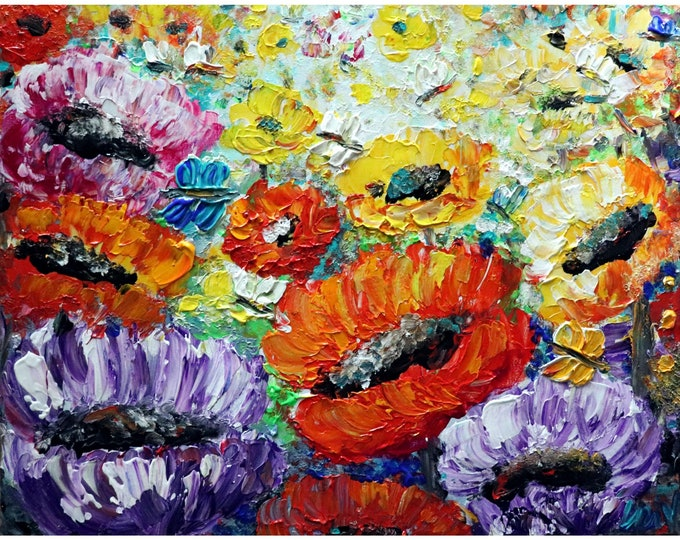 Summer Poppy Flowers Bees and Butterflies Original Modern Impressionist Oil Painting by Luiza Vizoli