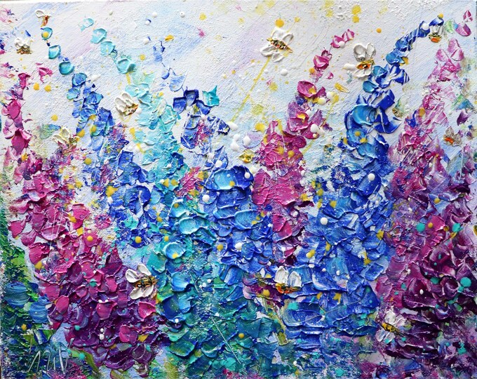 Lupine Flowers Garden in Bloom Bees and Butterflies Original Painting Impasto Art by Luiza Vizoli