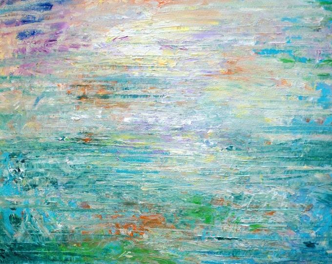 Water Mist Seascape Summer Original Modern Abstract Landscape Oil Painting by Luiza Vizoli
