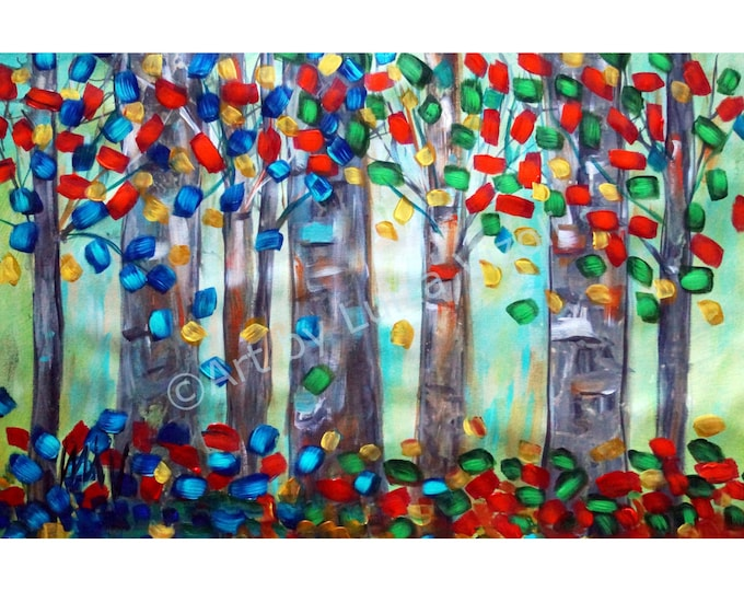 Abstract Art Trees Painting, Birch Trees Four Seasons Landscape Canvas, Canvas Painting 32x20