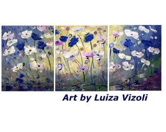 Spring Flowers Original Oil Painting Triptych Painting Landscape Art on canvas by Luiza Vizoli