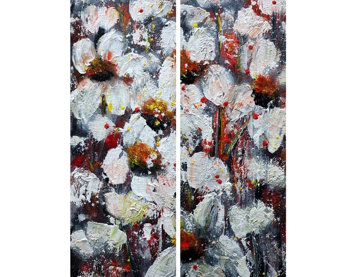 White Red Gray Poppy FLOWERS Oil Impasto Original Painting a set of 2 Canvases