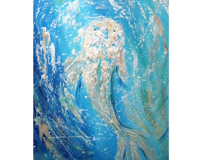 WHITE KOI Blue Waters Painting Oil Impasto Textured Vertical tall canvas Feng Shui art