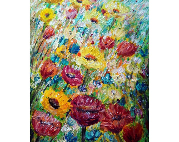 SUMMER BLOOM Original Oil Painting Flowers Sunkissed Butterflies  Art of Nature Botanical Floral Art by Luiza Vizoli