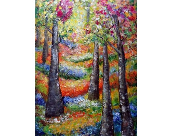 Spring  Blossom Birch Trees Blooming Flowers Tall Vertical 60x36 Extra Large Painting Impasto Oil Ready to Ship Art for Office