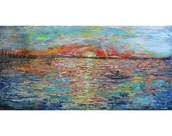 Sunset on the Lake Fishing Boat Original Oil Painting Impasto Textured Colorful Art on Large Canvas ready to ship