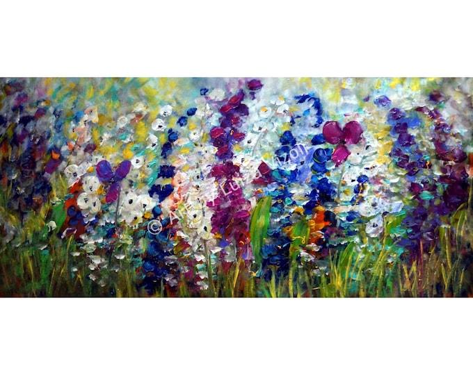 Summer Mist Flowers Garden Abstract Original Painting on Canvas Oil Impasto Modern Artwork Large Canvas Art by Luiza Vizoli