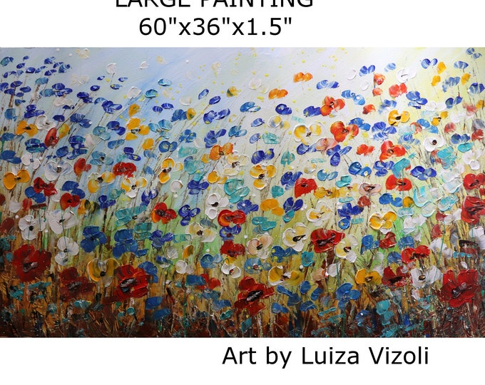 Extra Large Painting MAY FLOWERS Spring Prairie  60x36 Original Modern Artwork Impasto Textured Colorful Landscape Art by Luiza Vizoli