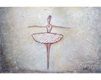 Prima Ballerina Assoluta White Dress Ballet Abstract Figurative Painting Art by Luiza Vizoli
