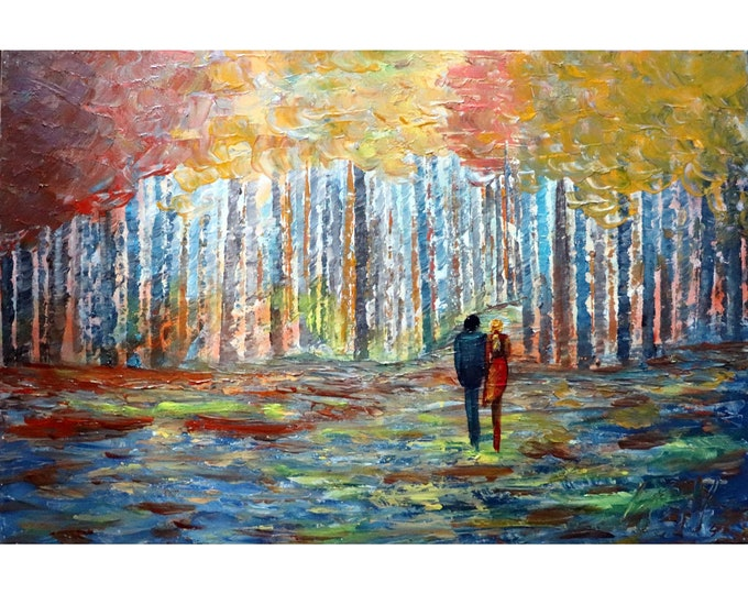 FALL Romance Trees Forest A BEAUTIFUL Bright Afternoon with YOU Original Oil Painting  Birch Trees