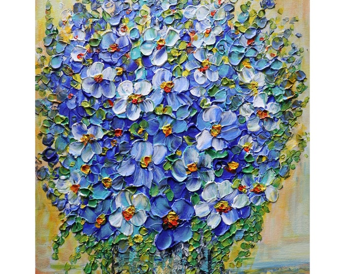 BLUE Flowers Delphinium Orchids Wildflowers Beach Stone Gray Vase Impasto Painting Ready to Ship, ready to hang