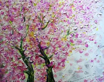 Cherry Blossom BONSAI Pink SAKURA  Original Large Textured Modern Tree Landscape Flowers Painting by Luiza Vizoli