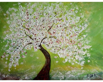 Bonsai Tree Large Painting White Pink Flowering Tree Spring Green Grass Original Art by Luiza Vizoli 40x30 Ready to Ship