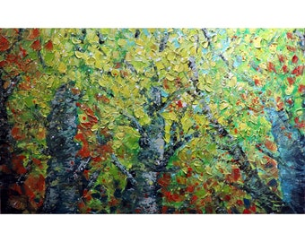 Fall Birch Trees Forest Extra Large Canvas Original Oil Painting Colorful Impasto Textured Art by Luiza Vizoli