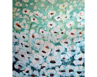 White Flowers Blue Green Colors CELEBRATION of Summer SERENITY Original Handmade Oil Painting on Large Canvas 36x48