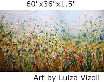 Daisy Forget Me Not Meadow Flowers Fields 60x36 Large Painting Lost in the Flowers Field Living Room Art Original Handmade XXL Canvas