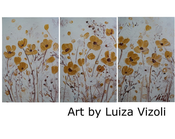 EXTRA LARGE  White Gold Chocolate Brown Brown Large Flowers Painting 60x30 Art by Luiza Vizoli