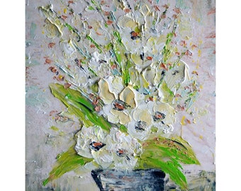 White Cream Beige Tan Flowers Bouquet Oil Impasto Original Painting by Luiza Vizoli