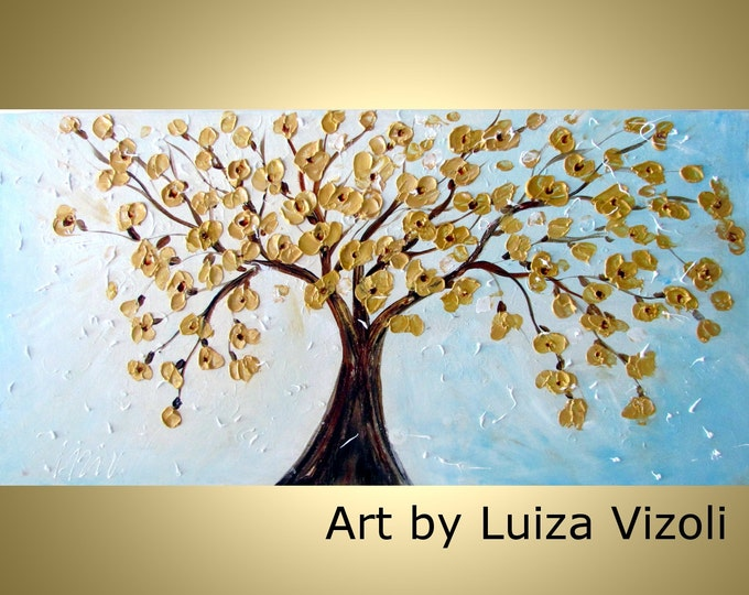 XXL Contemporary Modern 60x36 Painting White Gold Blossom Original Abstract Large Impressionist Tree Flowers artwork by Luiza Vizoli