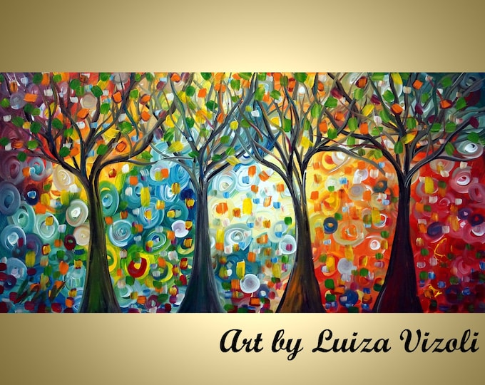 SEASONS TREES Colorful Whimsical Impasto Oil Original Abstract Painting Landscape Modern Art Wall Decor