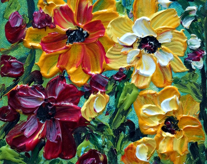 Oil Painting Original Art SPRING Flowers Happy Colorful BOUQUET Custom painting
