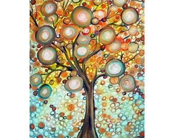 Gorgeous Fall Tree Painting Original Whimsical Landscape Artwork on Large Canvas Gold White Orange Aqua Green Chocolate Brown Copper Colors