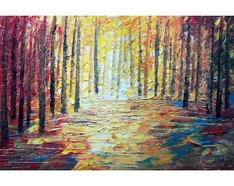 SUNSET Forest Trees Painting Original Impasto Oil Painting on Large Canvas Art by Luiza Vizoli