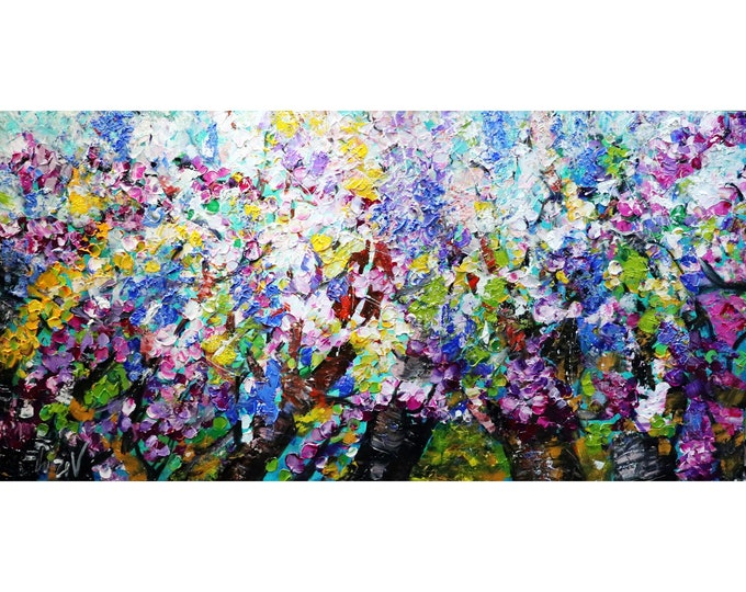 Lilacs in Bloom Original Oil Painting Living Room Art Impasto Flowers Art on Large Canvas