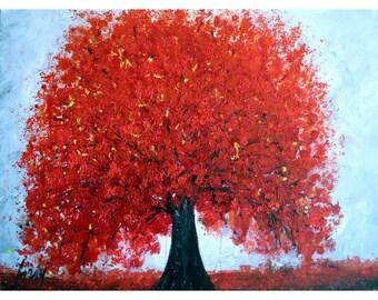 RED BLOSSOM Tree on Gray Large Painting Original Art Ready to Ship Art by Luiza Vizoli