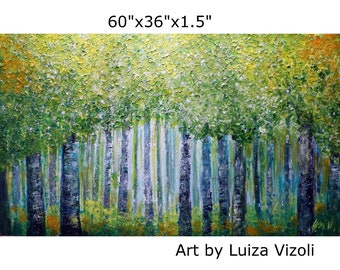 XXL Painting 60x36 Spring Green Forest Flowers in Bloom BIRCH TREES Impasto Large Original Painting Ready to Hang, Ready to Ship