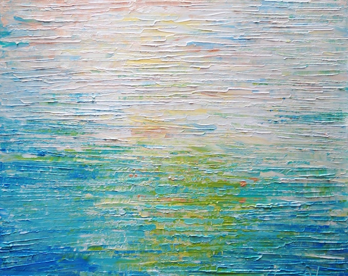 Meditation Calming Ocean Abstract Oil Original Painting Bring Relaxation in your office space with this breathtaking water on canvas