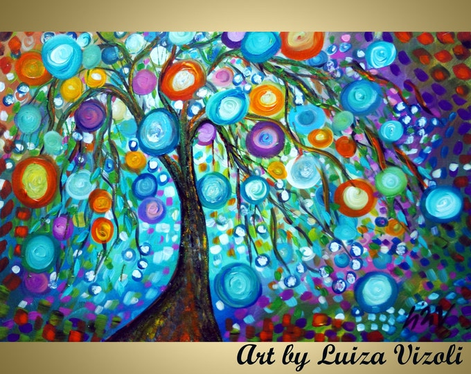 HAPPY MORNINGS Original Abstract Oil Painting Large Trees Circles Landscape by Luiza Vizoli