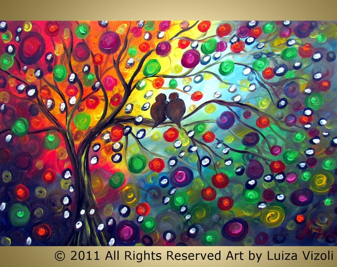 GOOD MORNING to YOU Original Abstract Tree Birds Landscape Fantasy Whimsical Painting by Luiza Vizoli