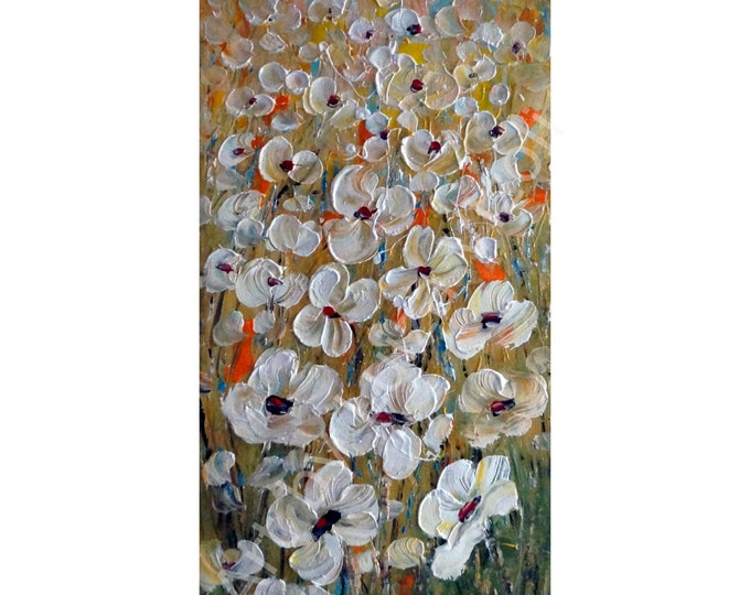 White Flowers Original Painting Oil Impasto Large Canvas Abstract Floral Art