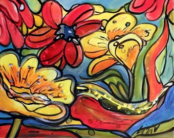 Little Piece of Paradise FLOWERS Abstract Floral Edwardian Original Painting Boho  Colorful Whimsical Art by Luiza Vizoli
