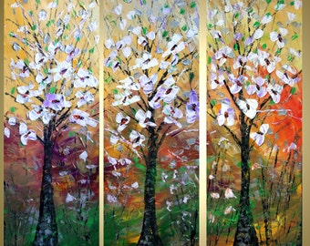SPRING MAGNOLIA Original Modern Abstract Palette Knife Textured Tree Landscape Triptych Painting 36x36