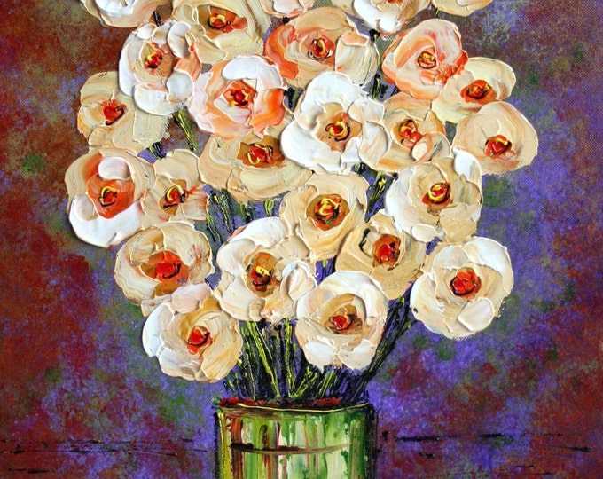 SOFT CREAM BOUQUET Green Vase Purple Original Oil Impasto Palette Knife Flowers Painting on Canvas Made to Order