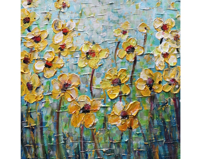 Flowers Original Oil Painting Yellow  Blue Green Textured Art on Canvas Ready to Ship