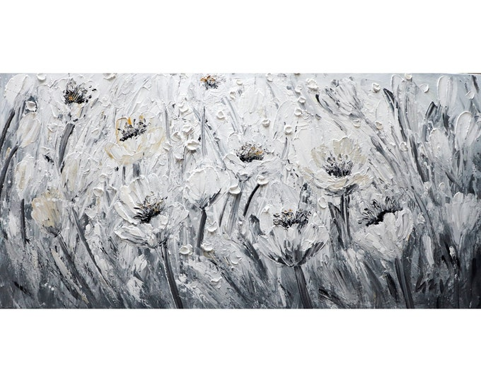 Spring TULIPS White Gray Abstract Flowers Painting Large Canvas ready to ship
