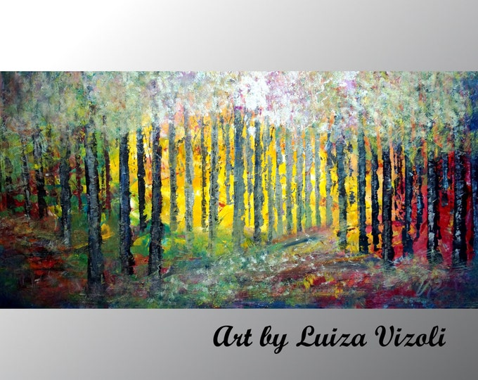 SPRING Landscape Abstract Painting Large Oil Landscape Painting SUNRISE Birch Trees Wall Decor by Luiza Vizoli