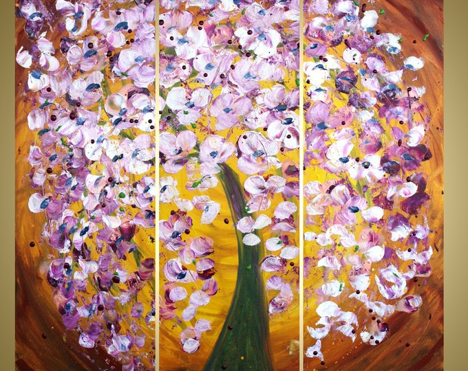 Large Painting BLOSSOM at Sunset Tree Landscape Palette Knife Oil Textured Triptych Artwork