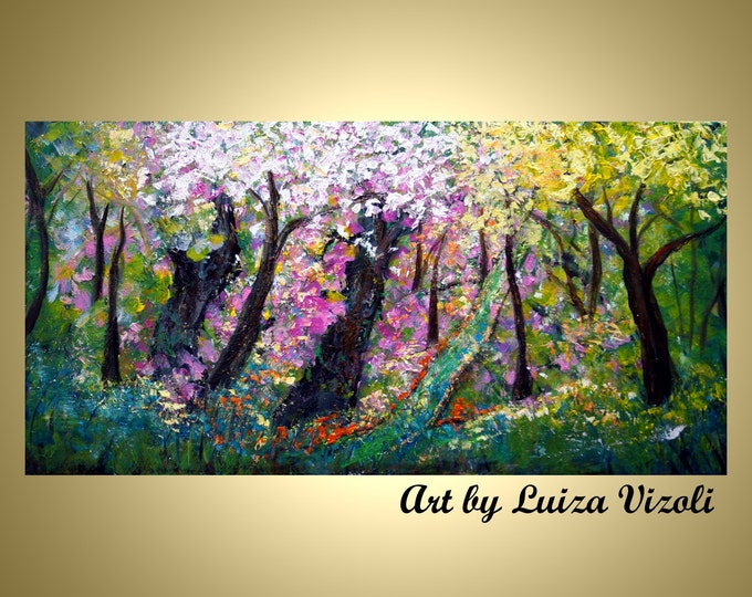Spring Blossom Forest Modern Impressionist Oil Abstract Tree Impasto Painting Large Fine Art Landscape
