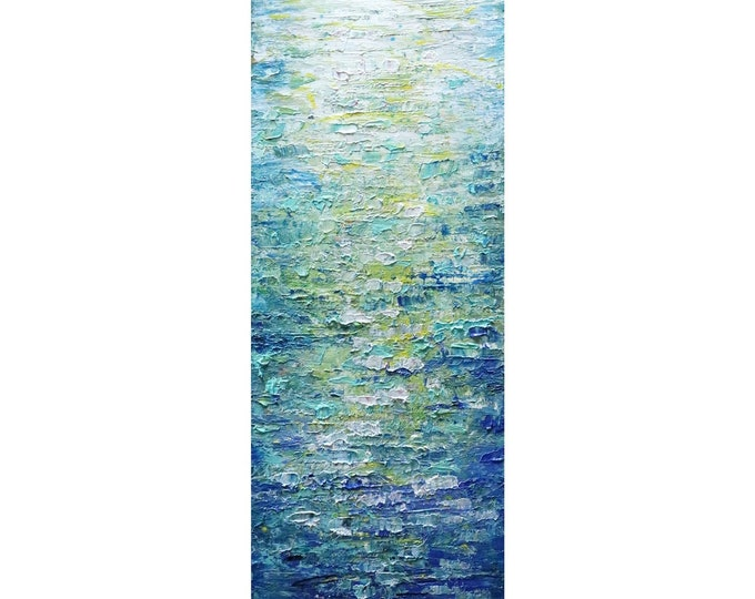Set of two paintings Tall vertical wall art ORIGINAL Painting canvas BLUE WATER abstract made to order