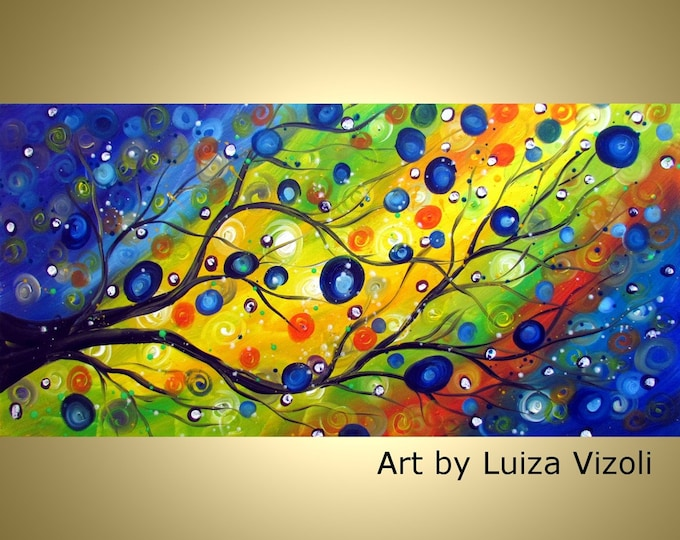 APRIL RAIN Tree Oil Abstract Tree Landscape Large Painting by Luiza Vizoli Made to Order  60x36, 48x30, 48x24