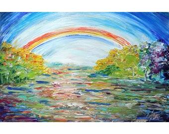 RAINBOW Landscape Original Oil Painting on Large Canvas Art by Luiza Vizoli