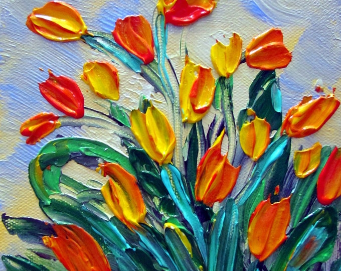 Original Modern Impressionist Flowers Palette Impasto Oil Painting YELLOW TULIPS by Luiza Viozoli