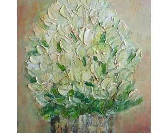 White Roses Bouquet Rustic Vase Abstract Modern Oil Painting