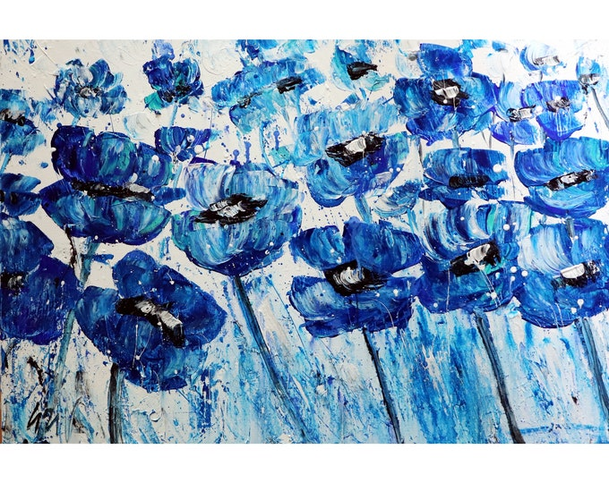 BLUE FLOWERS White Large Canvas Original Painting Art by Luiza Vizoli