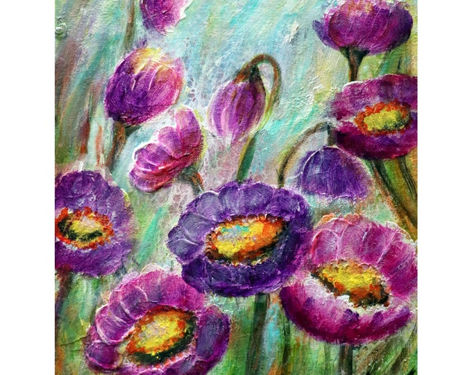 CROCUS SPRING Purple FLOWERS Original Oil Painting on Canvas Art by Luiza Vizoli